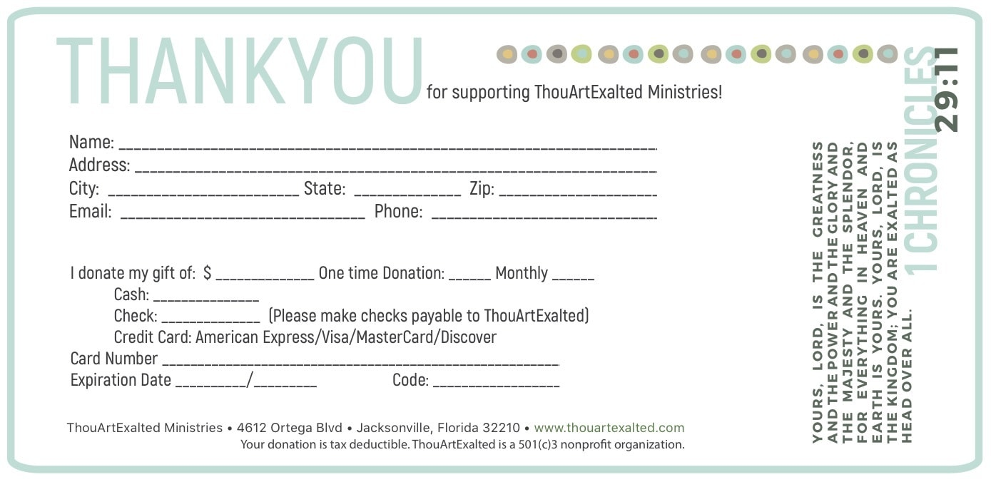 donation card 4 x 6